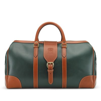 Tusting Luxury Leather Chellington Holdall in Green and Tan